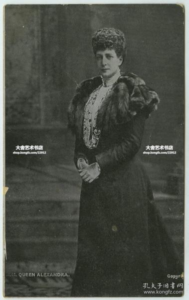 1907年英国国王爱德华七世的妻子亚历山大王后肖像明信片,贴邮票于1907年实寄过。