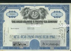 1960-1970年代大西洋与太平洋茶叶公司股票股一张,雕刻版 (蓝色)