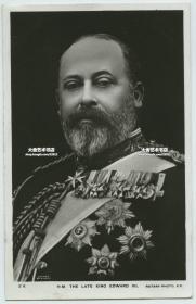1910英国国王爱德华七世盛装肖像明信片,贴邮票销1910年邮戳。