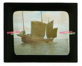 清代民国玻璃幻灯片-----民国时期大型中式多桅帆船海面航运旧影