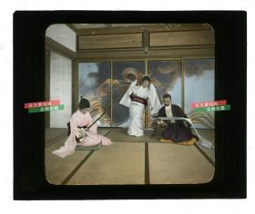 清代民国玻璃幻灯片-----民国日本人弹琴跳舞读家信