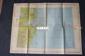 1945年浙江杭州湾地图一张,73X55厘米。宁波,温州,杭州,萧山,嘉兴等地均有标注。