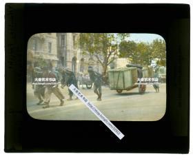 清代民国玻璃幻灯片-----民国时期上海外滩上拉大车货物的苦力手工上色玻璃幻灯