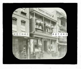 """清代民国玻璃幻灯片-----民国时期美国旧金山唐人街华人华侨修建的""""天后宫""""与""""圣列宫"""",寄托了海外华人的妈祖崇敬之情。"""