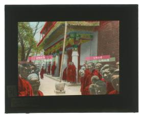 清代民国玻璃幻灯片-----民国藏传佛教喇嘛寺院僧人法师(Gold Roof Temple)