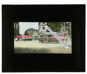 """清代民国玻璃幻灯片-----民国早期上海洋房路口的""""上海有轨电车""""SHANGHAI TRAMWAYS,交通警察值守,上海早期公交"""