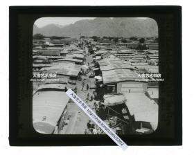 清代民国玻璃幻灯片----清末民国时期河北直隶山海关市主干道俯瞰城市全貌,远处有城楼