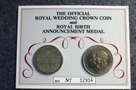 1982年哥伦比亚铸币厂精铸英国王室大婚纪念币两枚,带限量编号 12914,纪念查尔斯王子和戴安娜王妃举行世纪婚礼