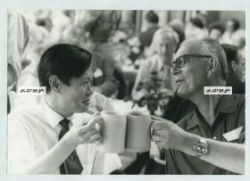 1973年杨振宁博士和外国科学界友人干杯合影。1957年因其和李政道共同提出宇称不守恒理论而获得诺贝尔物理学奖。23.8X16.5厘米