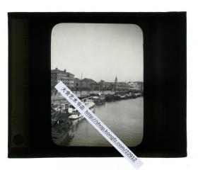 清代民国玻璃幻灯片-----民国上海苏州河四川路一带河道建筑风景