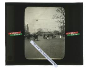 清代民国玻璃幻灯片-----民国上海外白渡桥桥头一带的街道交通城市旧影