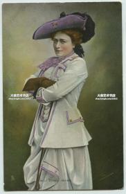 (本件所得款全部捐赠流浪动物救助)民国同期英国女演员埃塞尔·欧文 (Ethel Irving)  盛装艺术照老明信片