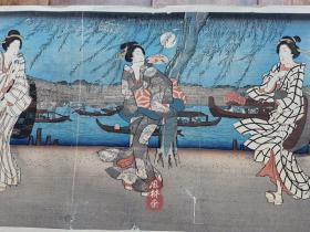 歌川广重《东都名所-两国桥之凉》大判三枚续 明治复刻木版画 日本浮世绘美人与风景