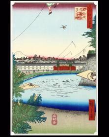 名所江户百景 春03 山下町日比谷外樱田 羽子板与正月松的新年气象 安达复刻 日本浮世绘风景名作