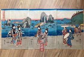 歌川广重《伊势名所 二见浦之图》大判三枚续 日本浮世绘原版画 神社风景与美人画