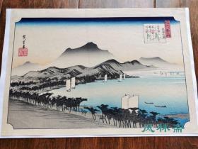 歌川广重《近江八景之内 粟津晴岚》复刻浮世绘风景 手工木版画