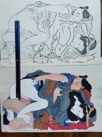 稀见复刻 葛饰北斋春绘《浪千鸟》 锦绘成品与墨线稿校合摺 大判两枚 日本浮世绘 手工木版画