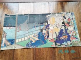 月冈芳年稀见之美人绘《江户紫花形源氏》大判三枚续 浮世绘原版画 风景与源氏物语