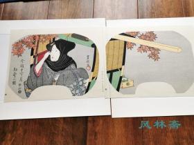 停轿坐爱枫林晚-今样十二月10 初冬之图 歌川丰国团扇绘2枚 复刻浮世绘木版画 日本岁时花见与美人风姿