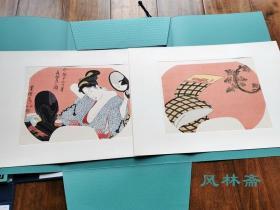 对镜理云鬓-今样十二月6 水无月 歌川丰国团扇绘 大判两枚 悠悠洞复刻 日本浮世绘美人画经典化妆造型