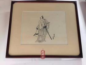 波士顿美术馆制作木版画《一笔斋文调役者绘》墨摺 初期浮世绘 限定30 附收藏级红木榫卯框