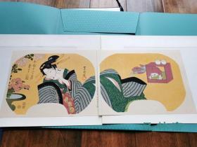 甚觉多情胜薄情-今样十二月9 菊月之图 歌川丰国团扇绘2枚 复刻浮世绘木版画 日本岁时 花道盆栽与美人风姿