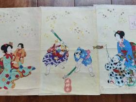 子供绘《五节句之内 五月端午节》鲤鱼旗 打菖蒲 大判三枚续 日本浮世绘 节气与民俗 歌川小国政画