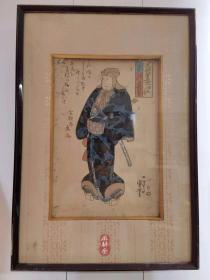 歌川国芳《五将军见立——赵云》日本歌舞伎名演员演绎五虎上将 国芳生涯初期役者绘 原版画原装框