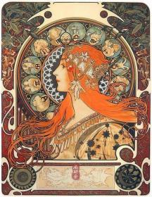 穆夏代表作《黄道十二宫》超大微喷版画 官方制作钤印 附精装框 学习浮世绘的西方新艺术运动大师