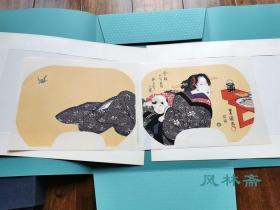 今样十二月4-卯月之图 初鲣之味 初代歌川丰国团扇绘 大判两枚 复刻浮世绘木版画 日本岁时料理与美人风姿