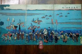 浮世绘子供绘《东海道行列之图》大判三枚续 一光斋芳盛 歌川国芳弟子 日本江户参勤交代