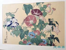 浮世绘六大家名画选19 葛饰北斋《朝颜雨蛙》安达复刻 中国趣味浓厚之花鸟画代表作