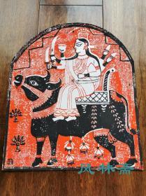 日本创作版画10 印度神话-湿婆与神牛 对开大尺幅 限定45 综合技法
