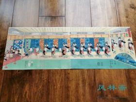 歌川国芳原版画 芝居绘 稀见之大判横二枚续 洋风建筑透视与日本戏剧舞台 浮世绘