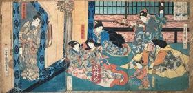 歌川国芳原版画 平清盛与常盘御前 平家物语 源平合战 源义经之母