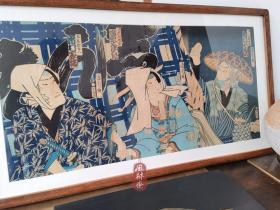 丰原国周役者绘 大判三枚续 蓝染之绀色 江户古版画配实木榫卯老框 日本浮世绘