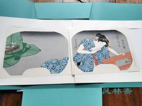 仲夏の夜-今样十二月5 初代歌川丰国团扇绘 大判两枚 悠悠洞复刻浮世绘 日本岁时习俗与美人风采
