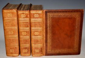 1812年 Holy Bible《神圣经典》古铜版画插图本 全小牛皮3巨册全 120张珍贵古铜版画  品上佳