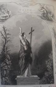 【补图】1851年 Scripture Plates for  NEW  Testament 神圣经典 之《新约全书铜版画辑》全树纹小牛皮豪华精装 珍贵古董书