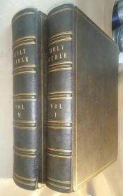 【补图】1859年HOLY BIBLE《神圣经典》古钢版画插图本 全摩洛哥羊皮2巨册全 天量珍贵古蚀刻版画  品相绝佳