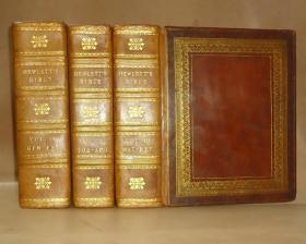 【补图】1812年 Holy Bible《神圣经典》古铜版画插图本 全小牛皮3巨册全 120张珍贵古铜版画  品上佳