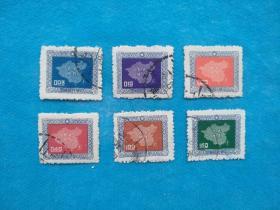 常84 中国地图(凸版) 1套6枚(中国台湾邮票)