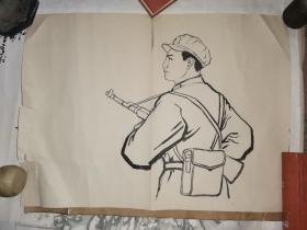 毛笔绘制 解放军战士 人像 一张   【53.6×39.8厘米】