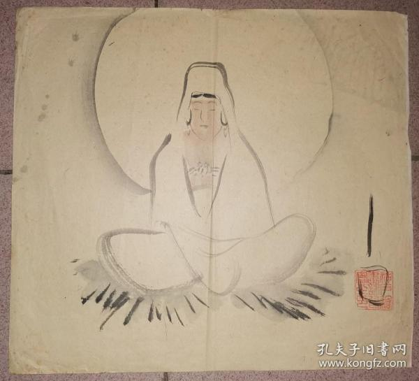 民国晚晴 神户绘画讲习会 钤印绘 观音图     【34×30厘米】