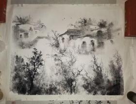 西南大学美术学院教授、硕士生导师、绘画系主任、中国美术家协会会员 黄静    水墨山水一幅  68×53厘米