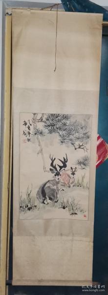 中国美术家协会会员、河北省美术家协会顾问 张辛国绘 《双禄图》双鹿   [ 45.5×68厘米]