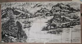 巨幅水墨山水画       74.6×141厘米