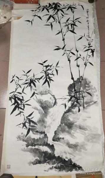 霍春阳弟子  言东八平尺精品花鸟一幅   【138×68厘米】