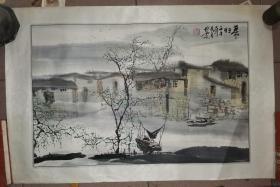 裱片:吴文会绘江南山水画 暮归  68×45厘米