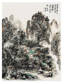 实力画家申晓国新制《古琴带月图》山水精品一帧